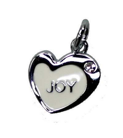 Creative-kralen hanger hart zilver-wit 16 x 18 mm 'joy' om zelf kettingen, oorringen, sieraden, decoratie en knutselen 10 stuks