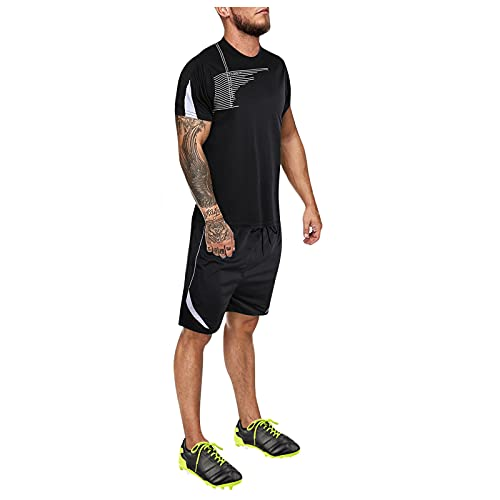 Tracksuit T-Shirt+Short Pants Sets for Men Summer Gradual Breathable Quick-Dry Outdoor Sports Training Football Outfits