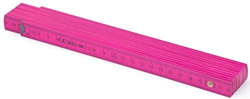 Metrie™ BL52 Holz Zollstock/Zollstöcke |2m langer Gliedermaßstab, Maßstab|Meterstab mit Duplex-Teilung - Rosa