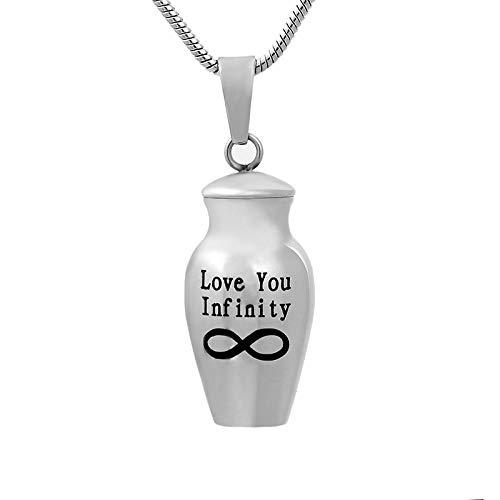 QQJJSUDIW Collares para Mujerlocket De Cremación Ilimitado Love You Cenizas Humanas/Collar De Urna Conmemorativa De Acero Inoxidable para Mascotas Ataúd