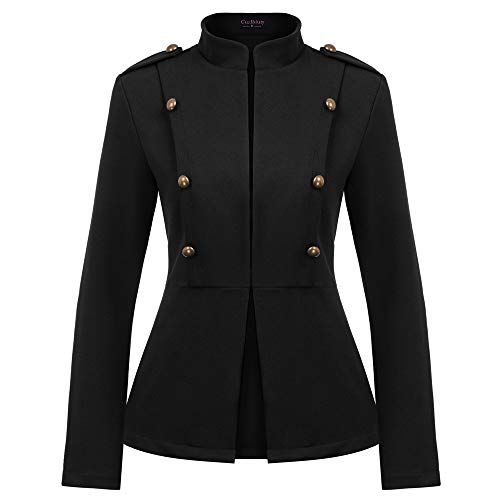 Curlbiuty Damesmantel Vintage opstaande kraag lange mouwen Cropped Zip Up Military Light Jacket Blazer