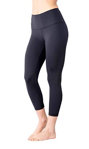 Yogalicious High Waist Ultra Soft Lightweight Capris - High Rise Yoga Pants - Iced Mauve LUX - XS