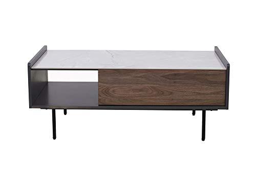 Amazon Brand - Rivet Coffee Table, 110 x 60 x 43.5 cm, Walnut/Grey