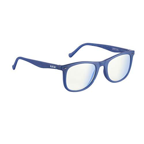 BLUE BAY CHELUS, Gafas para Hombres y Mujeres, Protección contra la Luz Azul del Ordenador, Gafas Sostenibles para Pantallas, Material Reciclado, Ligeras y Flexibles, Montura Azul Mate, 28 gramos