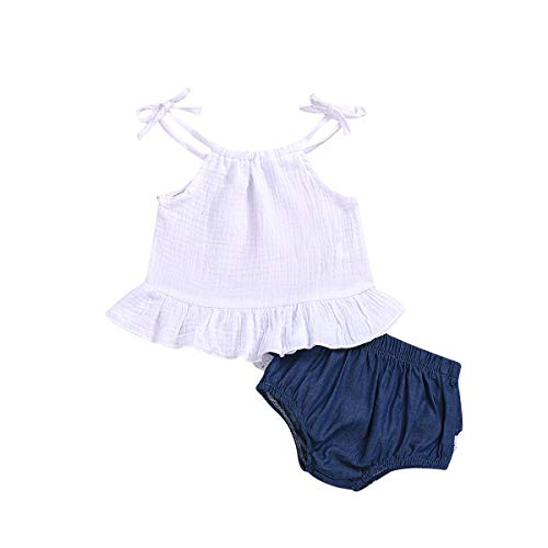 Puseky 2 stks Baby Meisjes Outfits Set Ruche Band Halter Tank Top Denim Shorts Zomer Kleding (6-12 maanden, wit)