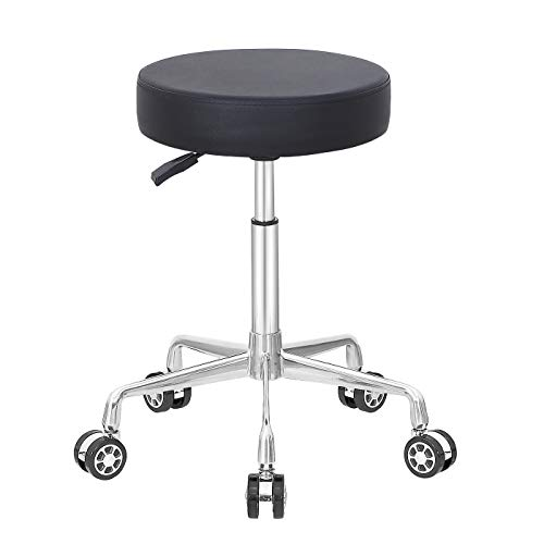 Coolu Rolling Stool Swivel Chair Adjustable Height Hydraulic Stool with Wheels for Office Bar Salon Massage Work and Kitchen