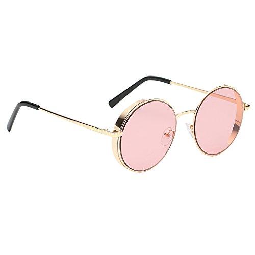 SDENSHI Lentes de Espejo para Mujer Diseñador Retro Vintage Hippie Hipster Gafas de Sol Redondas - Estilo 1-Rosa