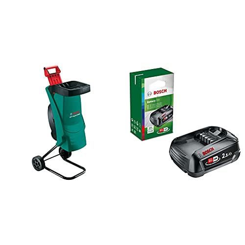 Bosch Häcksler AXT Rapid 2200 (2200 Watt, Materialdurchsatz 90 kg/h, max. Schneidekapazität-Ø 40 mm, im Karton) & 18 Volt (Lithium-Ionen, 2,5 Ah)