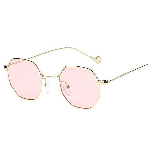 Transwen Gafas de sol clásicas con marco de metal, gafas de sol para mujer, lentes de espejo, gafas de sol para mujer, gafas de sol de moda de metal con irregularidades