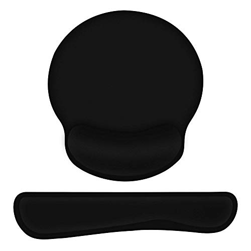 Actume Keyboard Wrist Rest and Mouse Pad with Memory Foam, Ergonomic Mouse Pad Set Durable, Comfortable and Pain Relief Easy Typing, for Laptop/Mac, Black