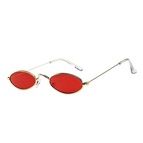 PULABORetro - Gafas de sol ovaladas pequeñas con marco de metal, estilo retro, gafas de sol modernas, duraderas y prácticas