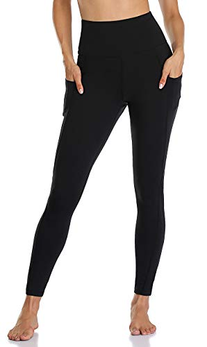 Anwell - Leggings con bolsillo de cintura alta, malla, pantalones de yoga, fitness, gimnasio, pantalones deportivos, Todo el año, con pinzas, Mujer, color Arrugas negras., tamaño S