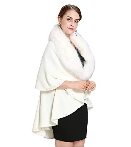 vannawong Capa de pelo sintético para mujer, corta y extragrande, de cachemira, abierta, longitud irregular con perlas Blanco Tallaúnica