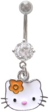 Hello Kitty Head Face w/Orange Flower dangle Belly navel Ring piercing bar body jewelry 14g
