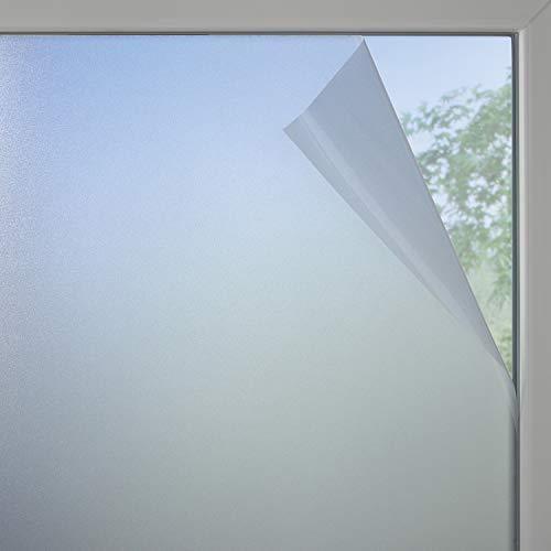 GARDINIA Fensterfolie, Milchglas-Optik, 100 % PVC, Blickschutz, Lichtdurchlässig, Haftet statisch, 90 x 200 cm, Halbtransparent, Weiß-matt
