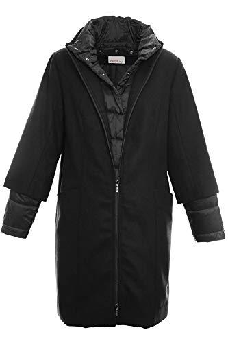 Sheego Kurzmantel Mantel Wintermantel Gehrock Jacke Damen Wolloptik Plusgröße, Farbe:schwarz, Damengrößen:48