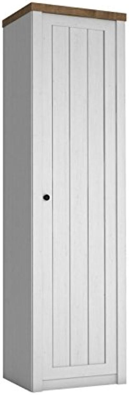 Drehtürenschrank   Kleiderschrank Segnas 08, Farbe  Kiefer Wei   Eiche Braun - 198 x 50 x 43 cm (H x B x T)