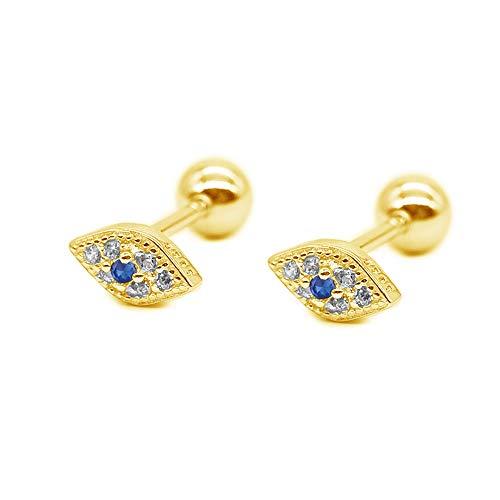 20g Blue Evil Eye Mini CZ Stud Earrings for Women Little Girls Dainty Minimalist 925 Sterling Silver Tiny Cartilage Tragus Small Cute Screw Back Hypoallergenic Studs for Daughter Bff Birthday (Gold)