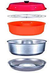 "This DELUXE KIT has TWO (2) SILICONE INSERTS, one for savory and one for sweet dishes. Almost every dish you prepare in an electric, natural gas or propane oven can be made in the Omnia. It holds about as much volume as an 8"" baking pan. Aluminum coo..."