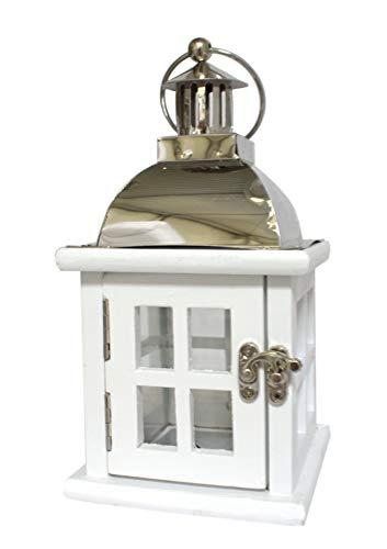 DARO DEKO Holz Laterne mit Echt-Glas Scheiben weiß Silber 10,5cm x 10,5cm x 20cm