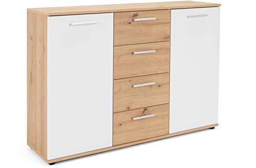 AVANTI TRENDSTORE - Jack - Sideboard con ante e cassetti in colore rovere artigianale e bianco. Disponibile in diverse misure. (Rovere artigianale, 120 x 85 x 35)