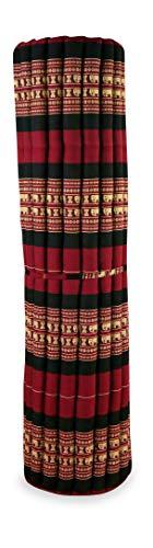 Kapok Rollmatte der Marke Asia Wohnstudio, 200cm (Länge) x 145cm (Breite) x 4,5cm (Höhe), Thailändische Rollmatte, Entspannungsmatte, Yogamatte, Pilates, Rollmatratze (rot/Elefanten)