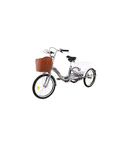 Riscko - Triciclo Adulto con Dos Cestas Bep-14 | Plata Montado |...