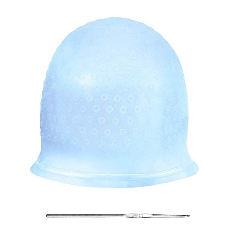 Highlighting Cap Large And Hook With Pre Made Holes, Silicone Highlighting Cap With Holes, Professional Salon Silicone Hairdressing Tools (Blue)
