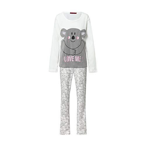 Pijama Mujer Térmico Polar Largo Gris Bordado Osito (Love, L)