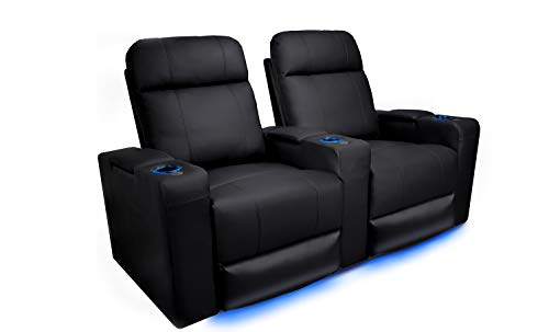 Valencia Piacenza Home Theater Seating   Premium Top Grain Leather, Power Recliner, Power Headrest, LED Lighting (Row of 2)