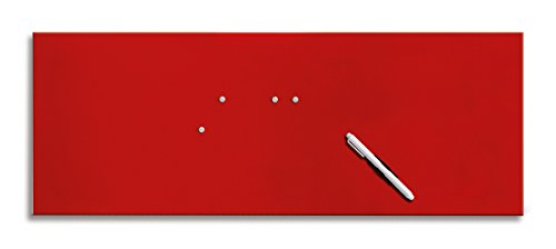 Eurographics Memo Board MB-RED3080 Magnet- und Schreibtafel aus Glas in rot (inklusiv Stift + Magnete)  Red, 30x80cm