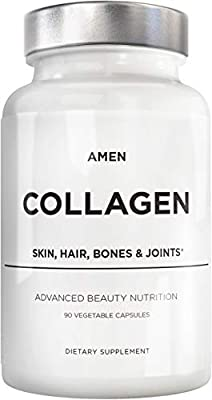 Amen Multi Collagen Peptides Capsules with Hyaluronic Acid and Vitamin C - 5 Types of Grass Fed Hydrolyzed Collagen Protein Type I, II, III, V, X - Amino Acids - Collagen Supplement - 90 Pills