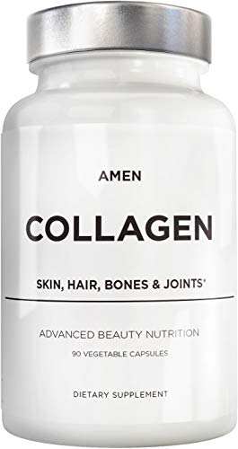 Amen Multi Collagen Peptides Capsules with Hyaluronic Acid and Vitamin C - 5 Types of Grass Fed Hydrolyzed Collagen Protein Type I, II, III, V, X for Hair Skin Nails Bone and Joint Support - 90 Pills