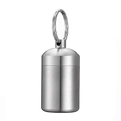 SuperglockT Edelstahl Pillendose Schlüsselanhänger wasserdichte Multifunktionell AufbewahrungsBox Geldscheine Münzen Dose Kapsel Tablettendose Silber Farbe (1 Stück)