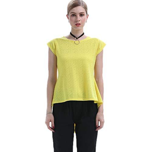 QJKai Mujeres de Manga Corta Camisetas de Gasa Elegante Esmoquin Falda Dobladillo Verano Casual Tops Sueltos Cuello Redondo Camisetas Moda Blusa Camisas