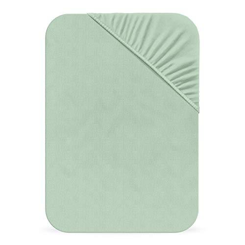 Matrazzo Mako-Feinjersey Spannbettlaken Halesia, Spannbetttuch 100% Baumwolle, Mint 90x200
