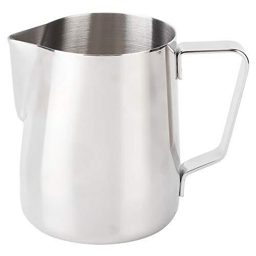 Yagosodee Jarra de leche de acero inoxidable de 600 ml, jarra de leche para espumar, taza de café con leche para café en casa