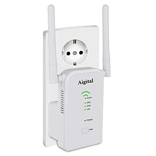 Aigital WLAN Repeater Router Signalverstaerker Multifunktion Range Extender (300Mbit/s, LAN/WAN Port, WPS, AP/Router/Repeater Modus Kompatibel mit Allen WLAN Geräten)-2.4GHz