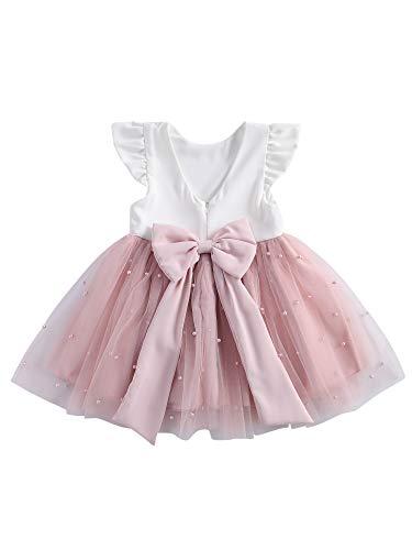 Loalirando Modisches Kleid für Mädchen, Brautkleid, Sommerkleid aus Spitze, einfarbig, Rundhalsausschnitt, Prinzessinnen-Kleid 6-12 Monate