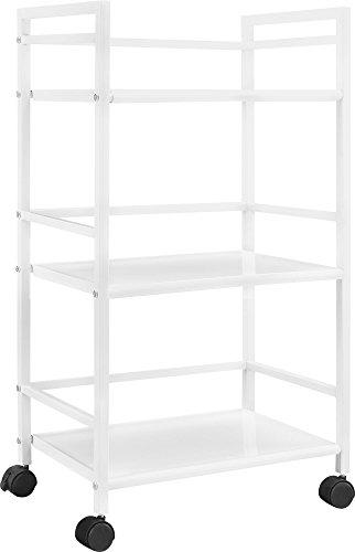 Ameriwood Home Marshall 3-Shelf Metal Rolling Utility Cart, White