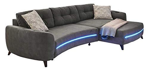 Möbel Jack Polstergarnitur Wohnlandschaft Sofagarnitur Ecksofa   Mikrofaser   Dunkelgrau   LED-RGB-Beleuchtung   Bluetooth   integrierte Lautsprecher  ...