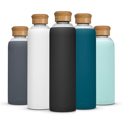 Doli Bottles Glasflasche 1 Liter 500ml I für Kohlensäure und spülmaschinengeeignet I 100% bpa-frei I Trinkflasche Glas 1l mit Schutzhülle und Schraubverschluss I Wasserflasche 1l (Schwarz, 1L)