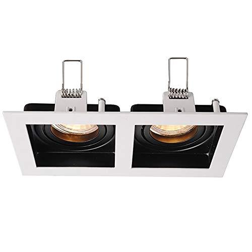 Porta faretto incasso bianco nero rettangolare doppia luce orientabile MR16 GU10
