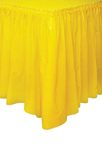 Unique Party- Falda de mesa de plástico, Color amarillo, 420 cm (50048)