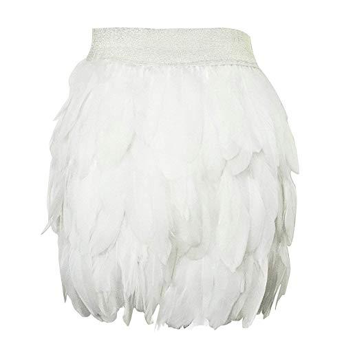 L'VOW Mujer Mini A lnea Falda de Plumas Naturales para Familiar Fiesta Disfraz de Halloween (Blanco, L)