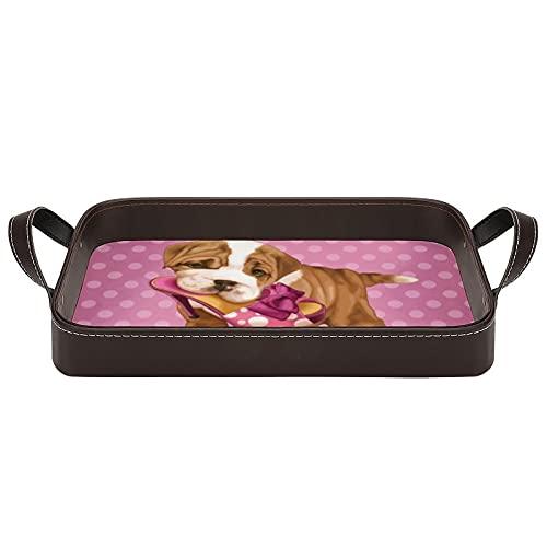 Bandeja de porción de Bulldog Inglés y zapatos con asas, 34,5 x 22,6 cm, bandeja decorativa para café, desayuno, postre