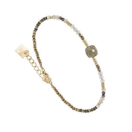 Zag Bijoux - Pulsera de piedra tallada labradorita (dorado)