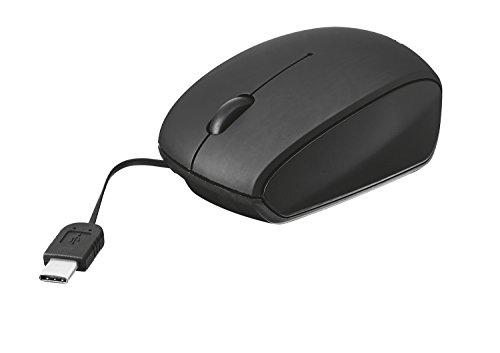 Trust 209689 USB Type C Retractable Mini Mouse, 1000 DPI, Black