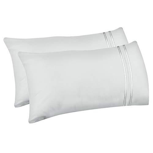 Lirex 2er Pack Kissenbezüge, Standard-Größe Weiche Gebürstete Mikrofaser-Kissenbezüge, Maschinenwaschbar, Faltenfrei und Atmungsaktiv (Weiß, Standard)