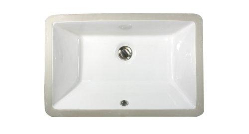 Nantucket Sinks UM-19x11-W 19-Inch by 11-Inch Rectangle Ceramic Undermount Vanity Sink, White